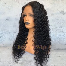 Brazilian human hair Pre plucked bleached deep wave 360 lace wig--BYC349