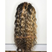 Brazilian human hair Pre plucked blonde loose curl 360 lace wig--BYC997
