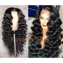 Brazilian human hair Pre plucked bleached spanish wave 360 lace wig--BYC344