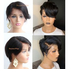 "brazilian virgin human hair 6"" lace front parting short pixie summer bob--BYC568"