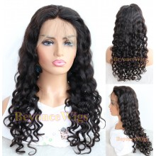 Brazilian human hair loose curl full lace silk top wig--BYC233