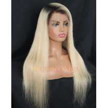 Brazilian human hair ombre blonde silky straight Gluless full lace wig--BYC231