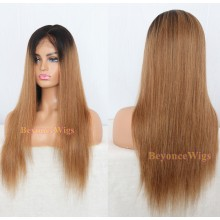 Brazilian human hair ombre light yaki Gluless full lace silk top wig--BYC230