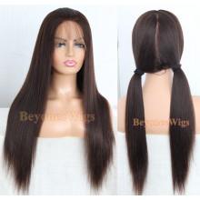 Brazilian virgin human hair light yaki hand tied full lace  wig--BYC236