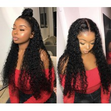 Brazilian human hair Pre plucked bleached deep curly 360 lace wig--BYC345
