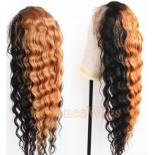 Brazilian human hair Pre plucked blonde loose curl 360 lace wig--BYC996