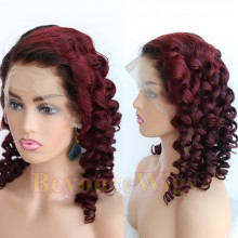 Brazilian human hair Pre plucked red wine curly 360 lace wig--BYC336