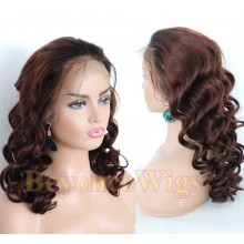 Brazilian human hair Pre plucked medium brown loose wave 360 lace wig--BYC337