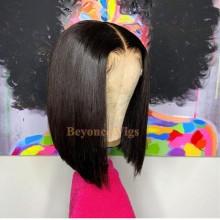 brazilian virgin human hair silky straight blunt cut 13*6 lace  bob--BYC566