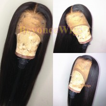 brazilian virgin silk straight Pre-made pre-plucked fake scalp wig--BYC101