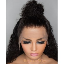 Brazilian human hair Pre plucked bleached deep curly 13X6 lace front wig--BYC571