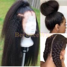 Brazilian human hair kinky straight glueless full lace silk top wig--BYC240