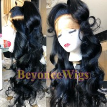 Brazilian human hair Pre plucked bleached loose wave 360 lace wig--BYC343