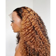 Glueless lace front human hair Beyonce ombre blonde curly wig--BYC564