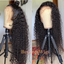 Brazilian human hair Pre plucked bleached kinky curl 13X6 lace front wig--BYC575