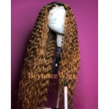 Brazilian human hair Pre plucked blonde deep curly 360 lace wig--BYC999