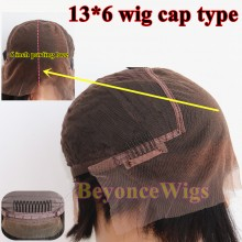 Brazilian human hair Pre plucked bleached kinky straight 13X6 lace front wig--BYC562