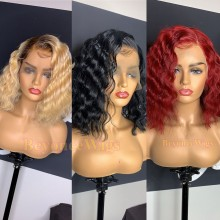 Glueless lace front human hair colored curly bob--BYC560