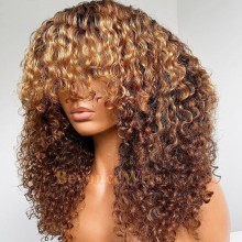 Ready to wear Blonde Bang curly 360 frontal wig - BYC331