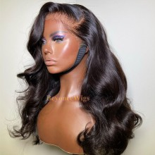 10A top quality 100% human hair body wave HD lace front wig--BYC458
