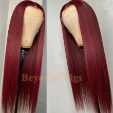 brazilian virgin silk straight 99j color lace front wig--BYC995