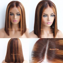 Pre plucked bleached coarse yaki brown color highlights blunt cut bob--BYC547