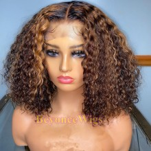 Brazilian virgin highlights curly bob  370 lace wig--BYC909