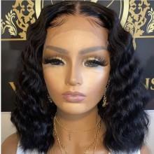 100% human hair 5*5 HD closure natural wave bob wig--BHD005