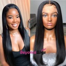 100% human hair 5*5 HD closure silk straight wig--BHD004