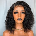 Brazilian human hair Pre plucked bleached curly bob 360 lace wig--BYC348