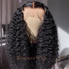 100% human hair 5*5 HD closure kinky curl wig--BHD006