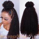 Brazilian human hair Pre plucked bleached romance curl 360 lace wig--BYC328