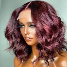 100% human hair 5*5 HD closure burgundy wave bob wig--BHD101
