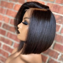 100% human hair 5*5 HD closure side parting bob wig--BHD104