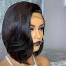 100% human hair 5*5 HD closure side parting vibe bob wig--BHD99