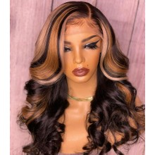 Human hair 5*5 HD closure ombre blonde loose  wave wig--BHD224