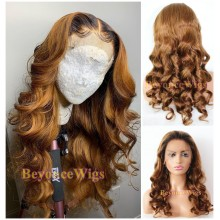 Brazilian human hair Pre plucked blonde loose wave 360 lace wig--BYC998