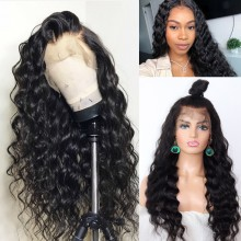 Brazilian human hair Pre plucked bleached loose curl 360 lace wig--BYC347
