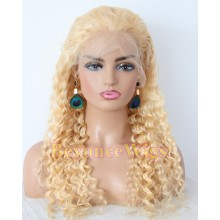 Brazilian human hair 613 color Deep Wave Gluless full lace wig--BYC234